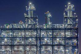 Illuminated industrial installation at night. Rotterdam, The Netherlands.